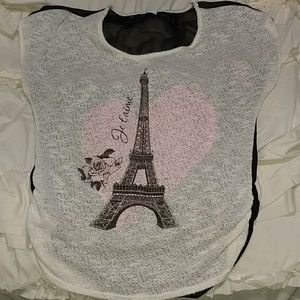 Eiffel Tower and Rose Top w/ Shear Back